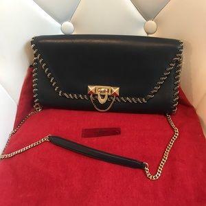Valentino whipstitch demilune shoulder clutch bag